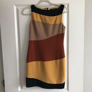 Black, gold, tan, yellow dress